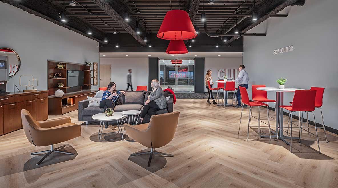 Sky lounge at Safelite HQ