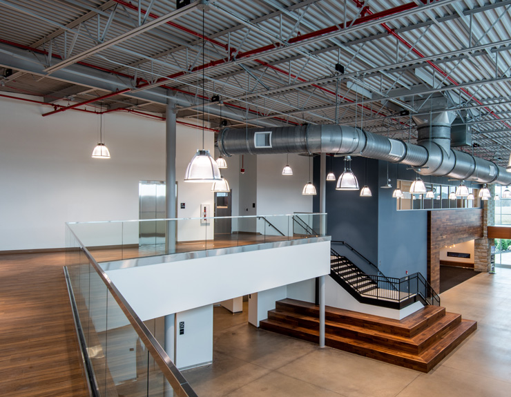A grand stair inside Airstream allows employees to get to the second floor