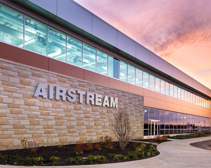 Airstream's metal logo on the building