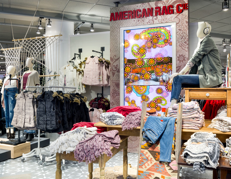 American rag display with bright colors