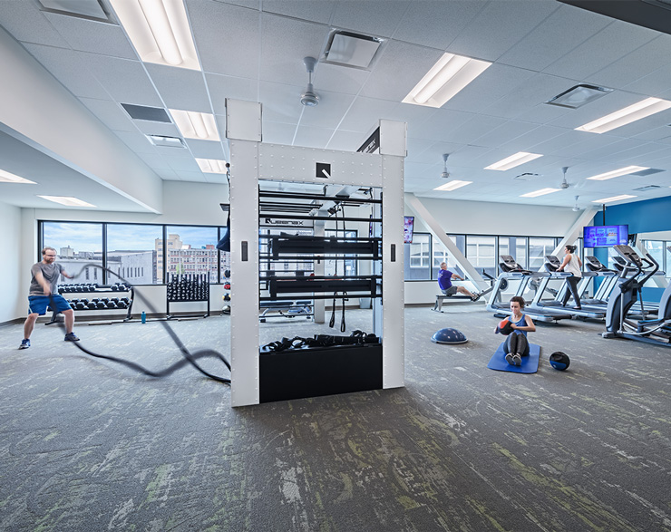 Employees use the fitness facility