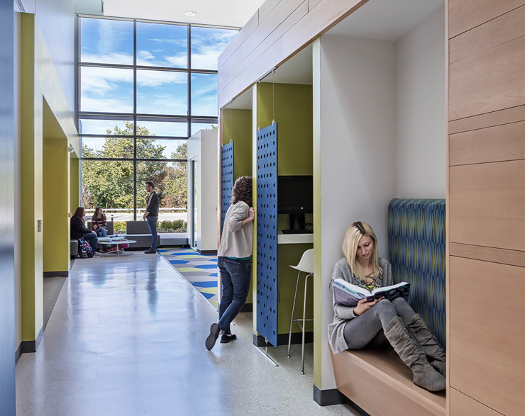 Private huddle spaces offer students the ability to work quietly