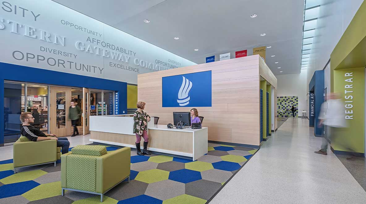 A welcoming reception area is available upon entry into the student success center