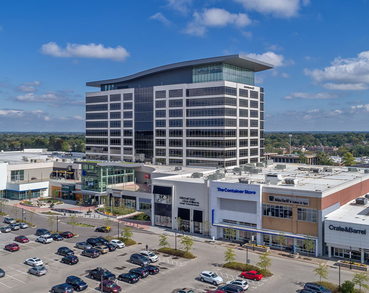 A drone shot of the front of the building