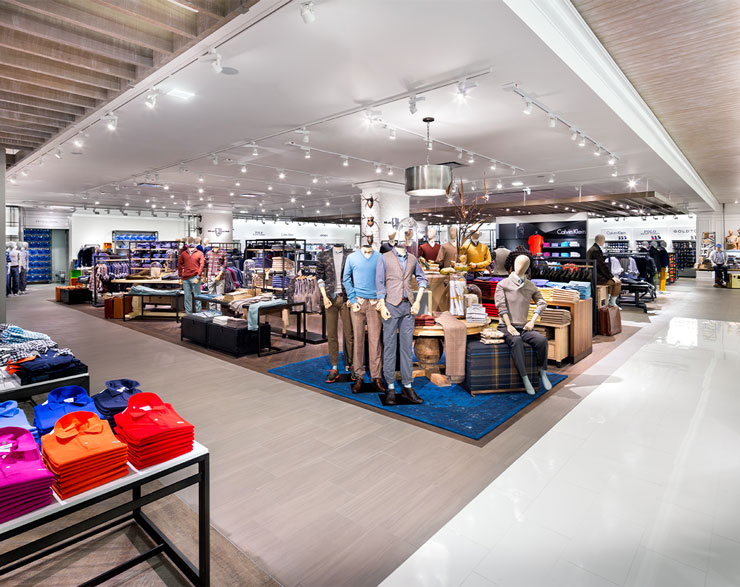 The Calvin Klein portion of the Lord & Taylor store contains a variety of men's clothing