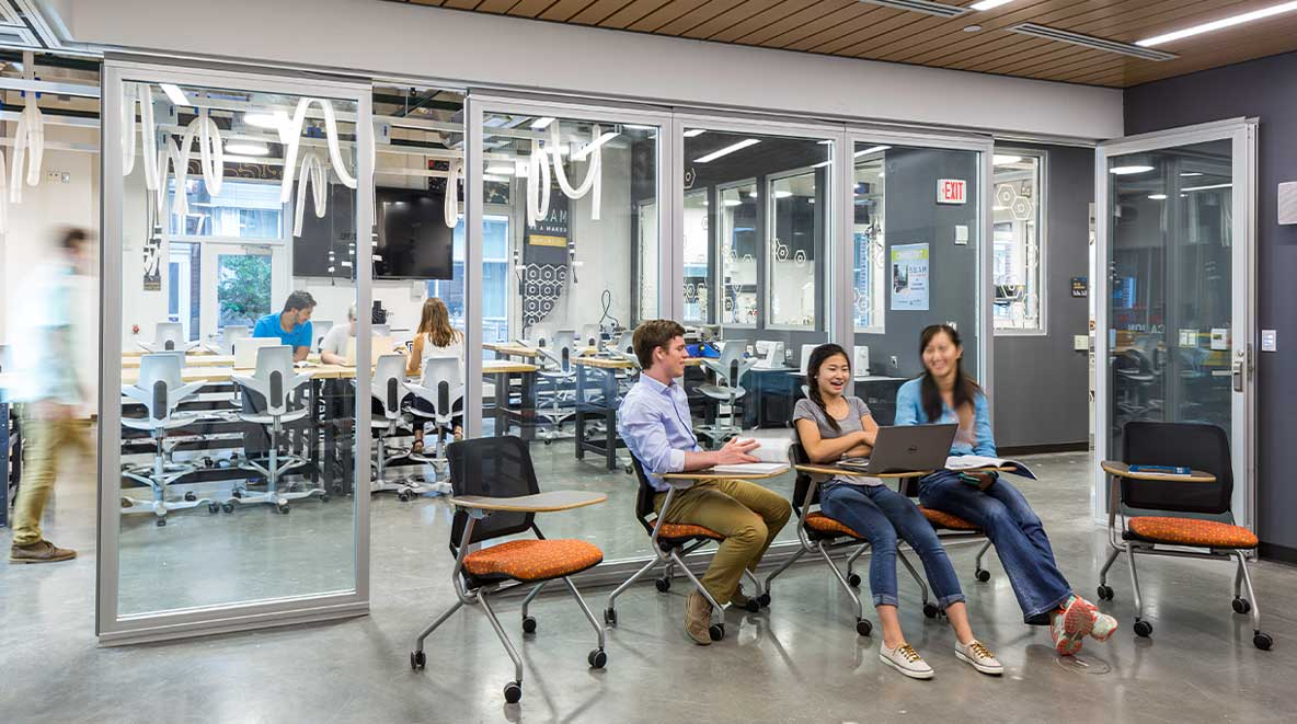 Students collaborate inside Murray Hall