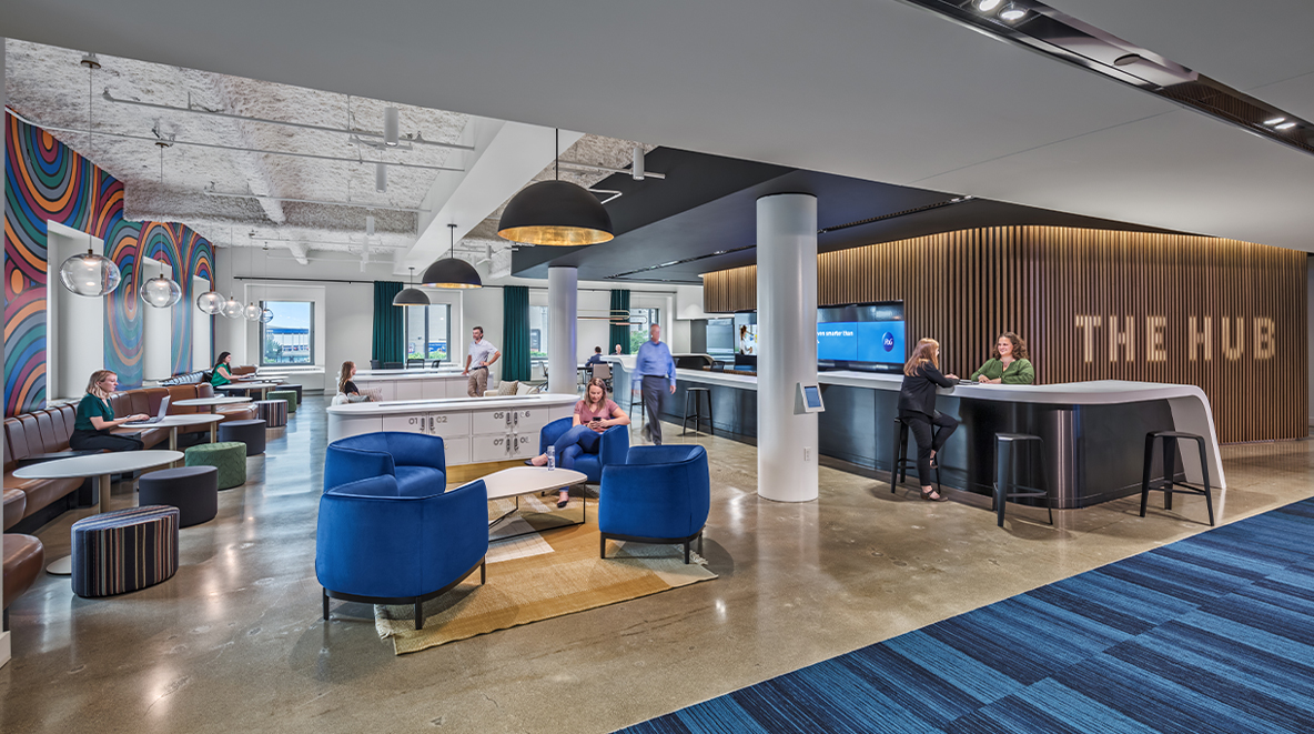 Employees work together or work alone inside the hub