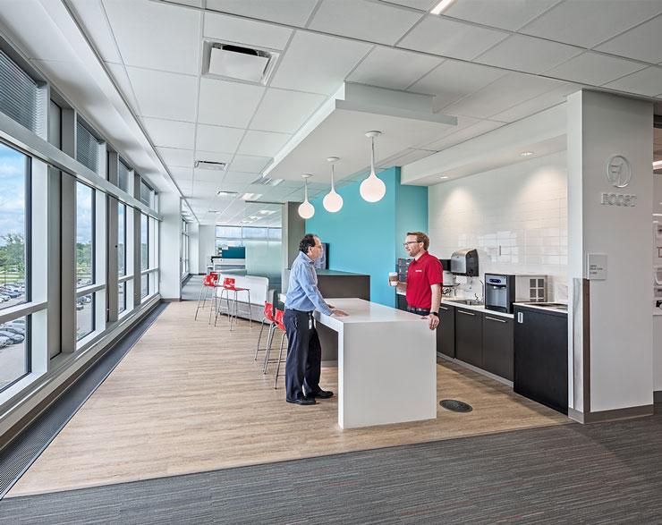 Employees gather in a break area